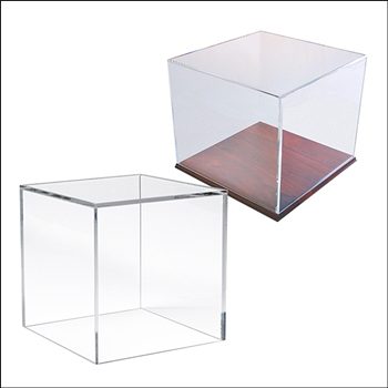 Acrylic Square Box Display - Optional Wood Base - Multi-Sizes