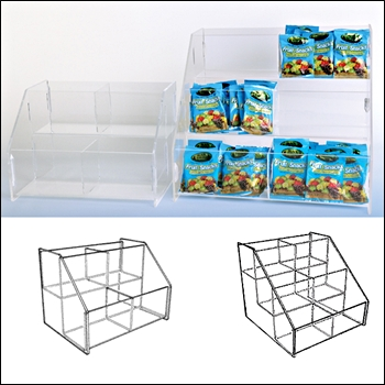 Double Wide Acrylic Tiered Bins - Multi-Sizes