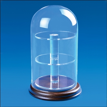 Glass Dome Display with Circular Base & Shelves
