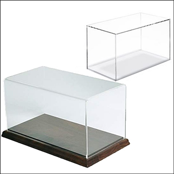 Acrylic Rectangular Box Display - Optional Wood Base - Multi-Sizes