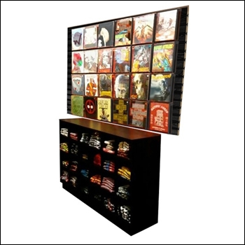 URBAN 24 Steel Frame T-Shirt Display Wall Unit with Storage