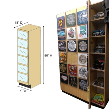 T-Shirt Door Cabinet Display and Storage - Multi Finish Options