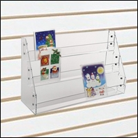 acrylic slatwall greeting card bin
