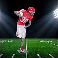 amercian football player visual merchandising mannequin display LG