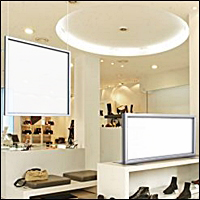 ceiling and graphic sign frame displays 200