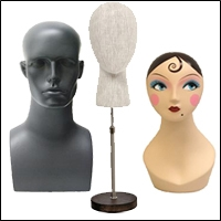 fabric and fiberglass head displays 200