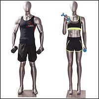 fitness crossfit gym rat mannequins lifting weights 200