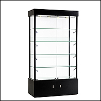 glass side and front and back tower display economy 200