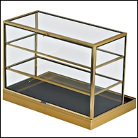portable flat glasstop case with shelves 200