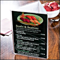 restaurant signs and menu 200