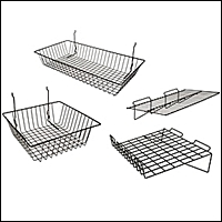 slatwall wire shelves and baskets 200