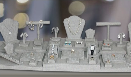 gray linen jewelry displays header