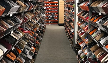 shoe store rack display header