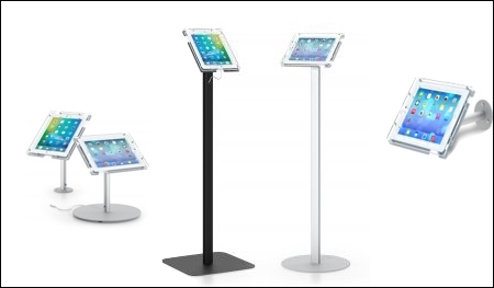 ipad and tablet holder for retail header