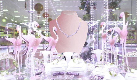 pink satin jewelry store displays header