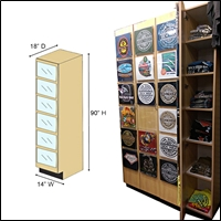 retail tshirt display cabinet 200