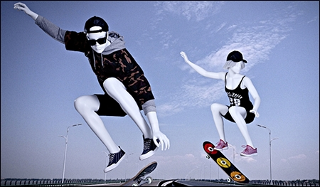 skater or surfer guy or gal mannequins display header