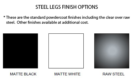 steel table leg color options