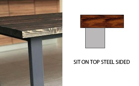 table on top of steel frame custom table finishes 02